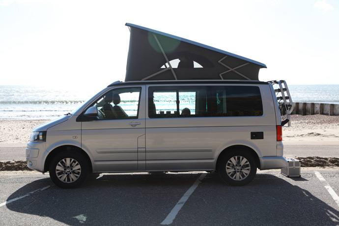 VW california campervan hire Bristol parked at the beach