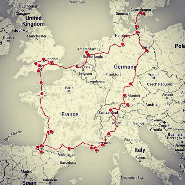 Route of Californian Family during their European Adventure in a VW California