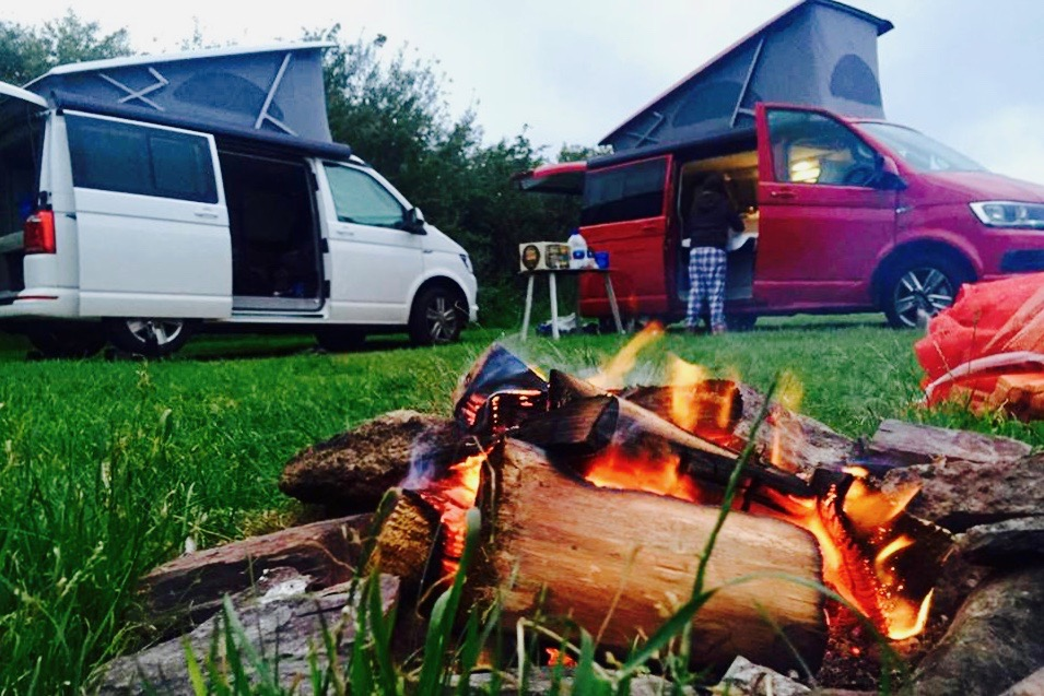 Two VW California Oceans Hire with Campfire