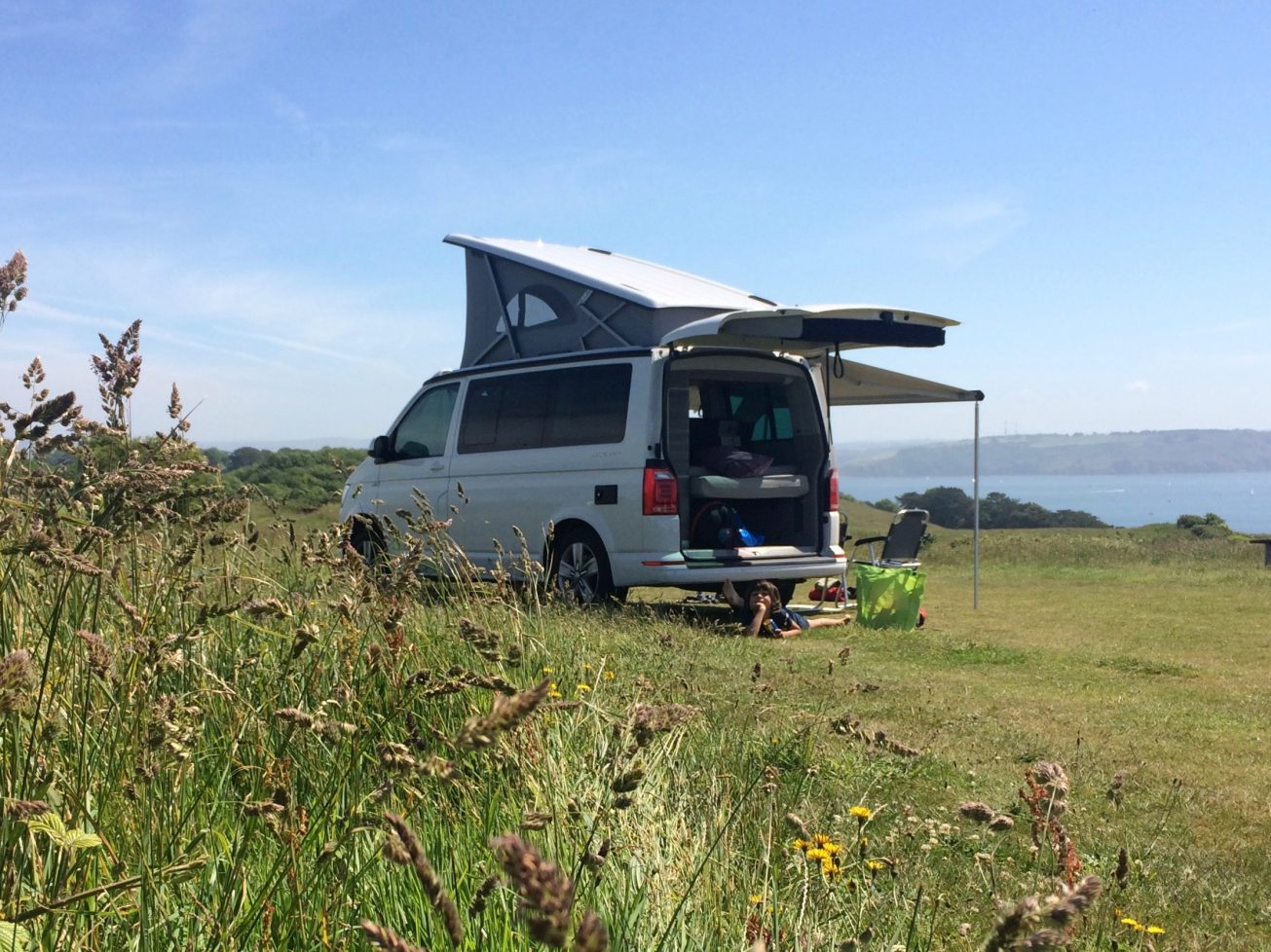 VW California Camper Hire looking out to sea in Cornwall