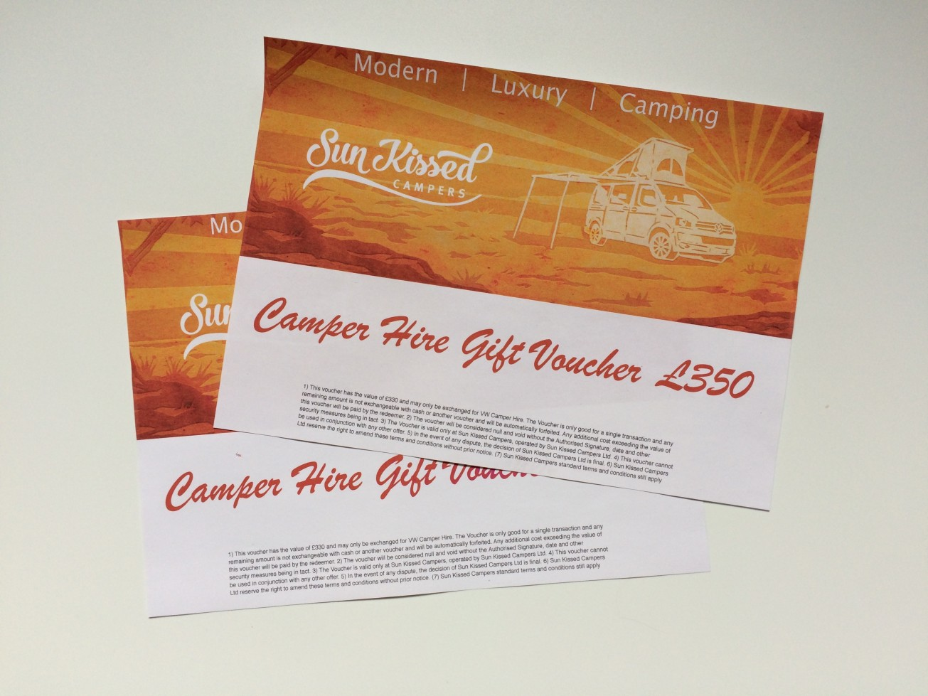 Campervan Hire Gift Vouchers by Sun Kissed Campers