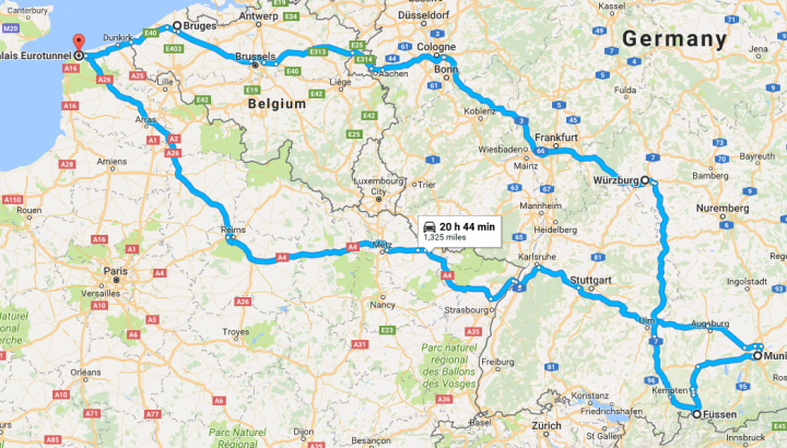 Map of Oktoberfest Campervan Road Trip