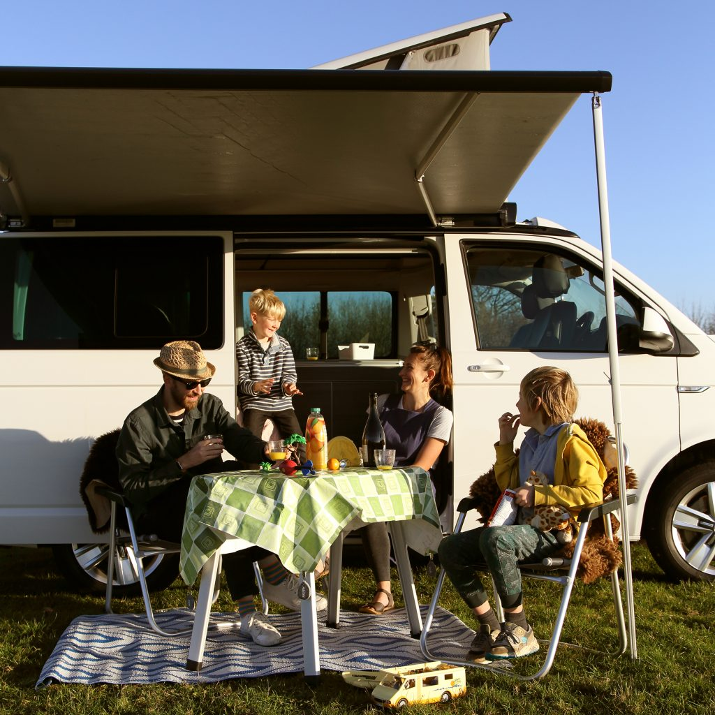 hanging out in a VW California Campervan hire from Sun Kissed Campers