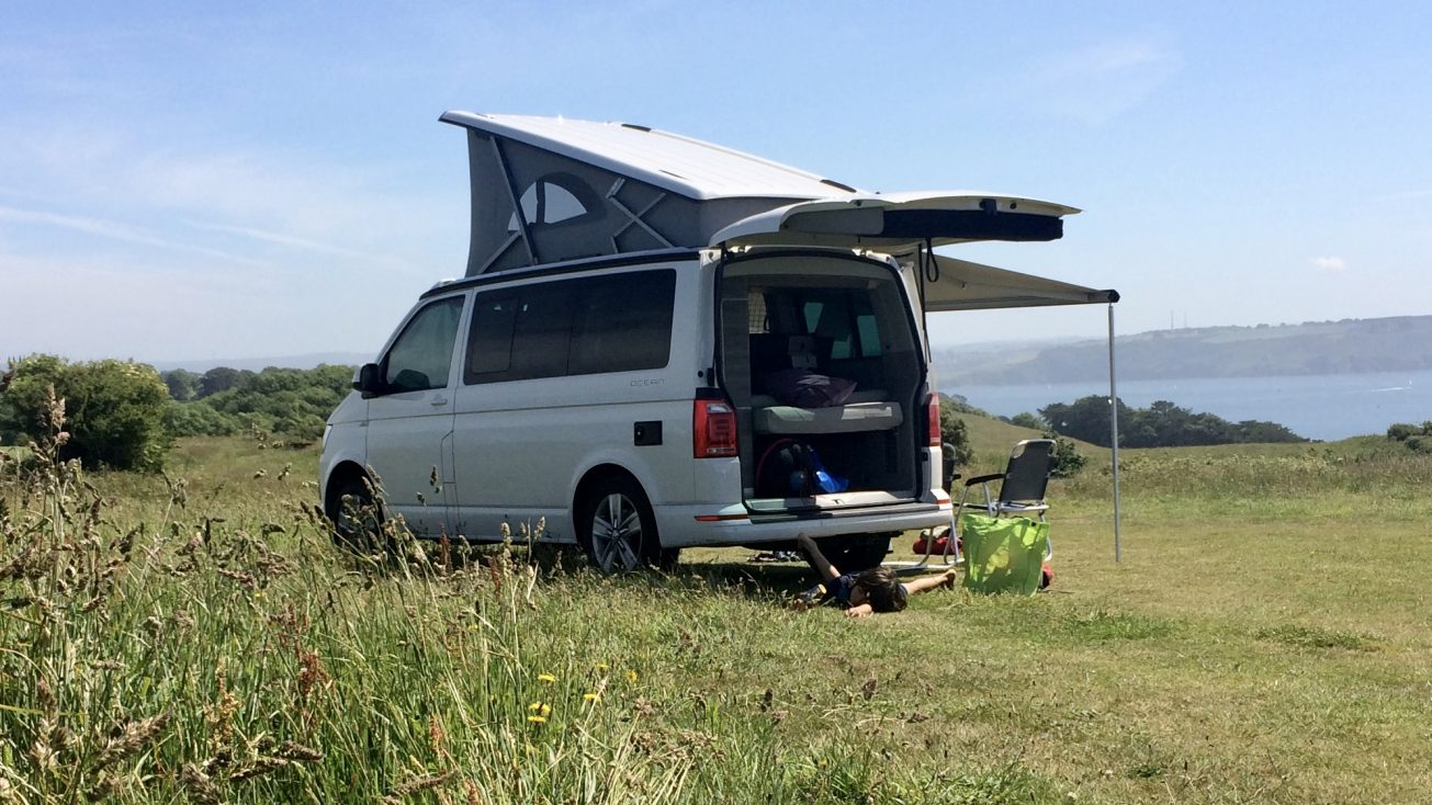 Camping on the Rame Peninsula, Cornwall in a VW California Hire